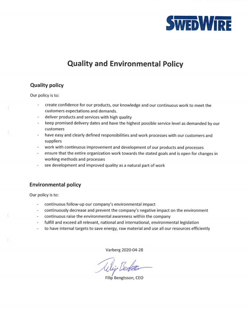 Quality and Environmental Policy (PDF) (ENG)